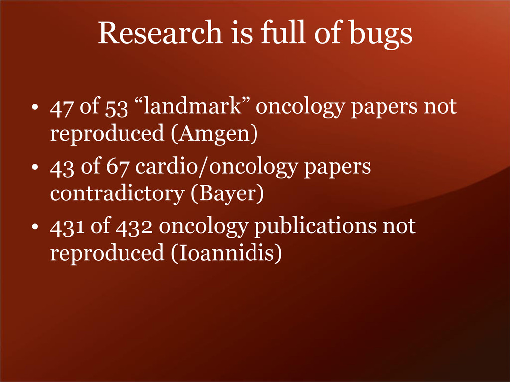 """Research is full of bugs • 47 of 53 """"landmark"""" ..."""