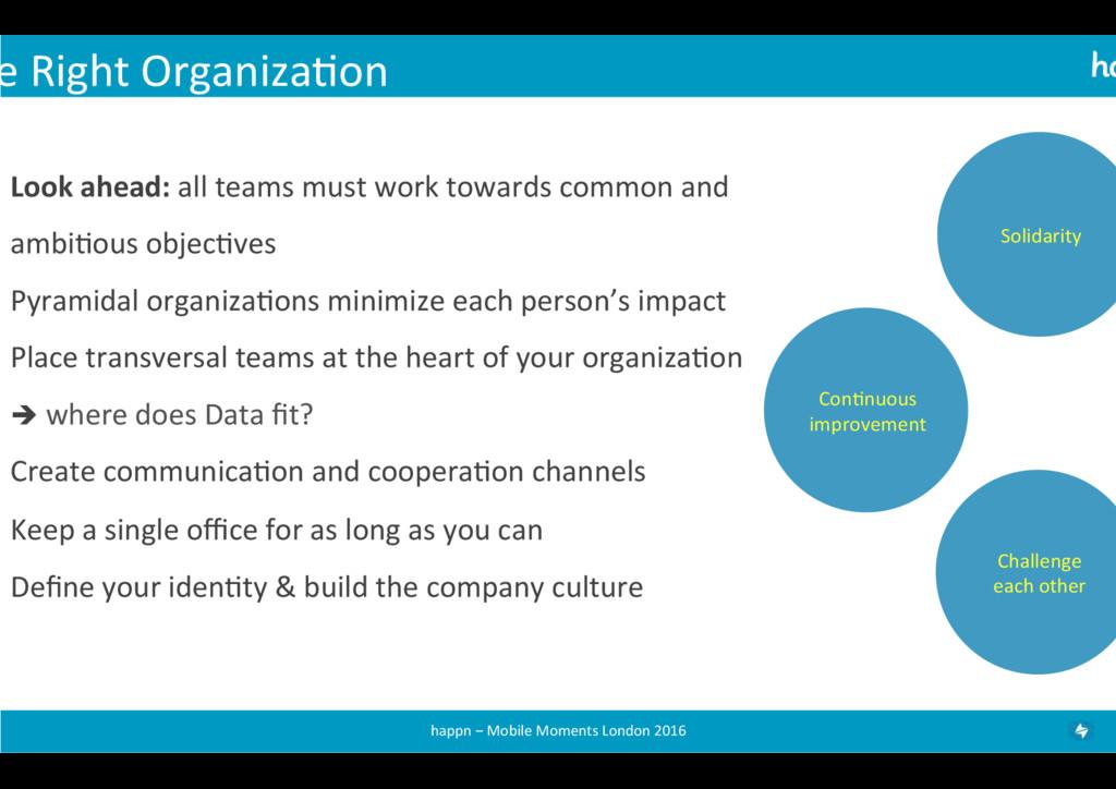 e Right Organiza+on  Look ahead: ...