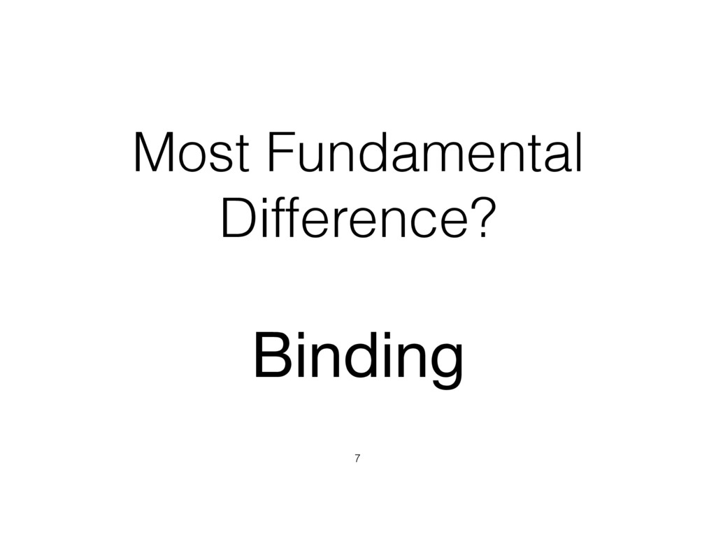 Most Fundamental Difference? 7 Binding