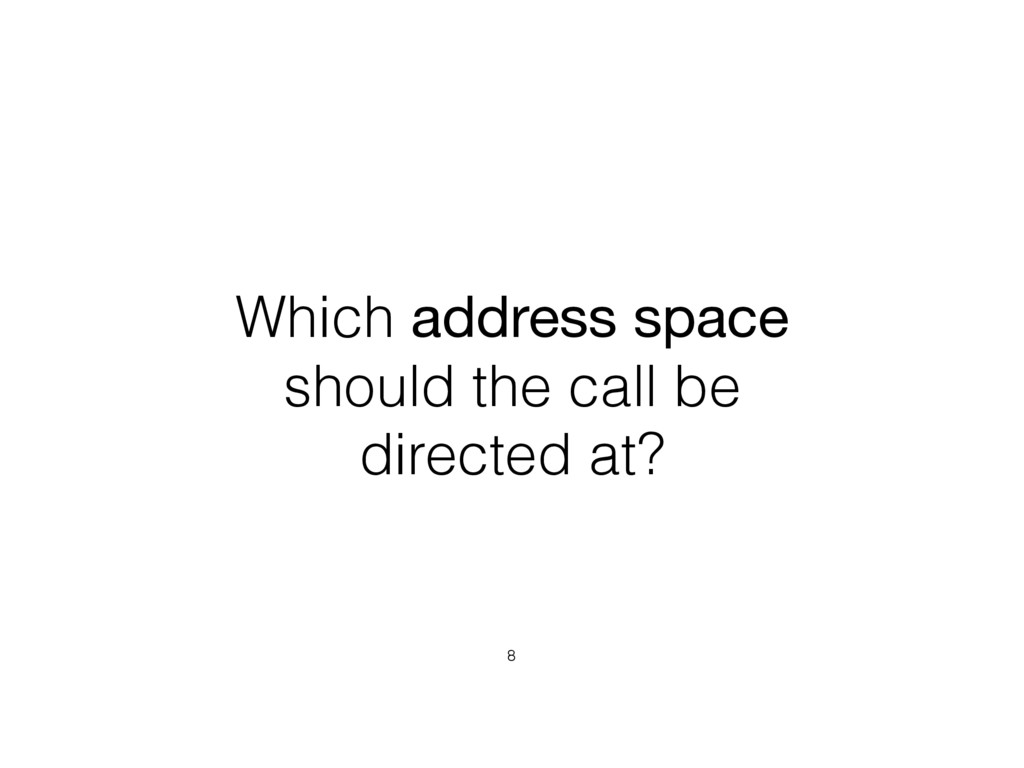 Which address space should the call be directed...