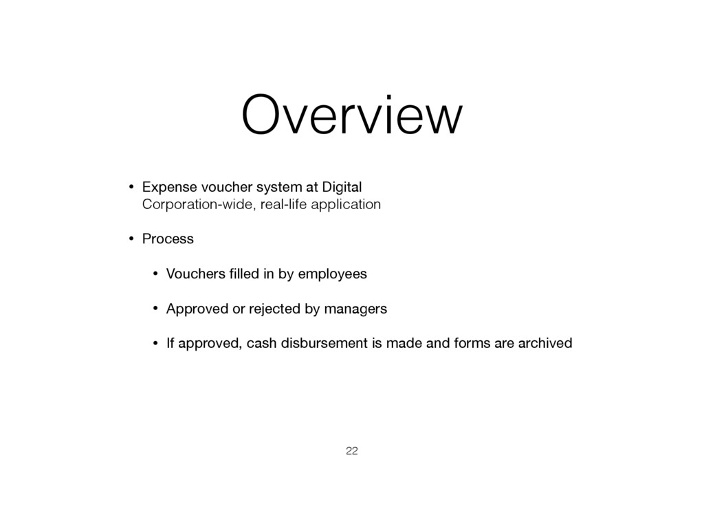 Overview • Expense voucher system at Digital