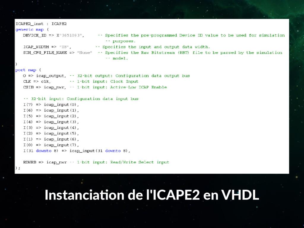Instanciation de l'ICAPE2 en VHDL