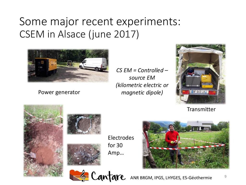 Some major recent experiments: CSEM in Alsace (...
