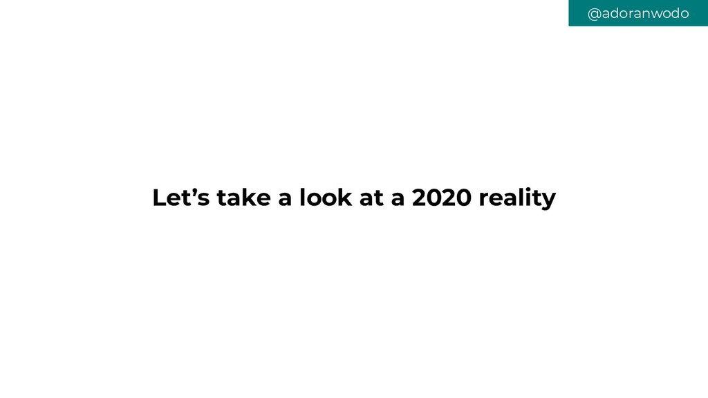 Let's take a look at a 2020 reality @adoranwodo
