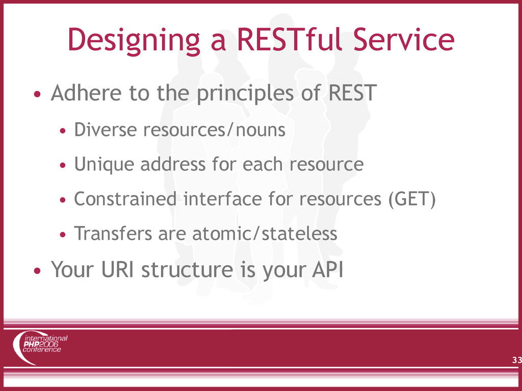 Designing a RESTful Service 33 • Adhere to the ...