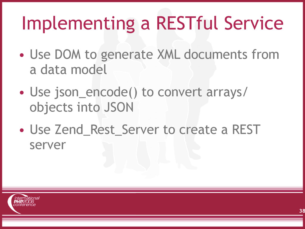 Implementing a RESTful Service • Use DOM to gen...