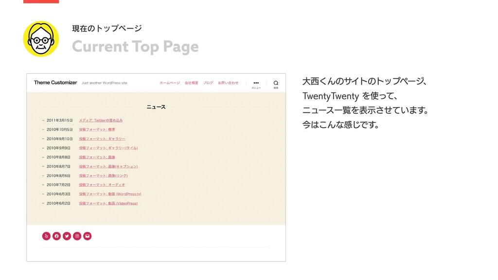 Current Top Page 現在のトップページ ⼤⻄くんのサイトのトップページ、 Tw...