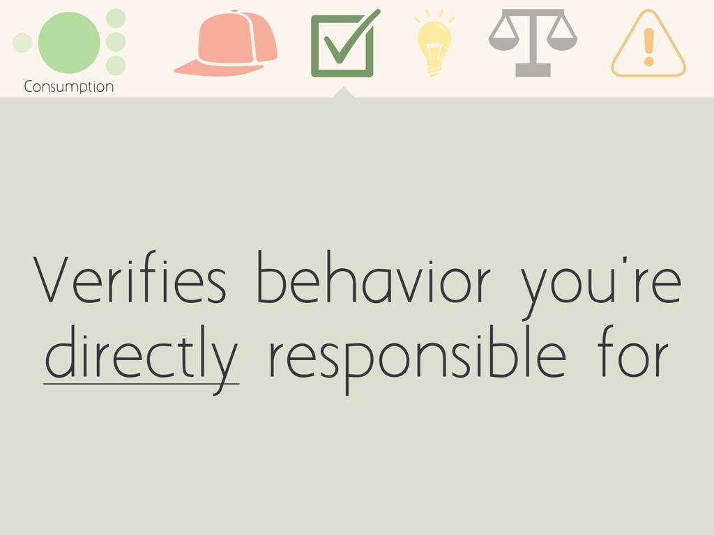 Verifies behavior you're directly responsible f...
