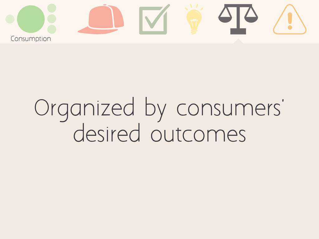Organized by consumers' desired outcomes Consum...