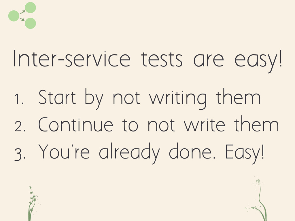 Inter-service tests are easy! cd fe 1. Start by...
