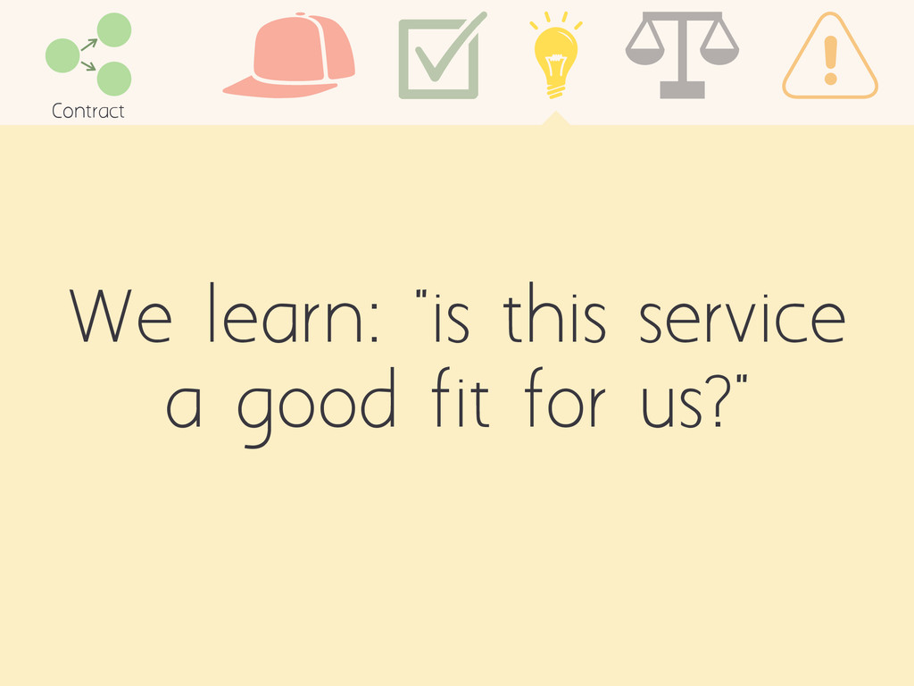 """We learn: """"is this service a good fit for us?"""" ..."""