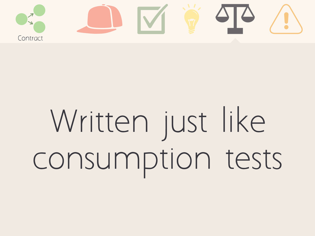 Written just like consumption tests Contract