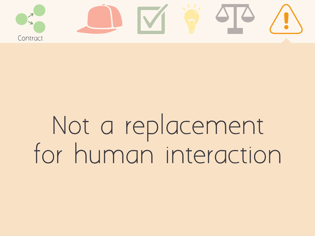 Not a replacement for human interaction Contract