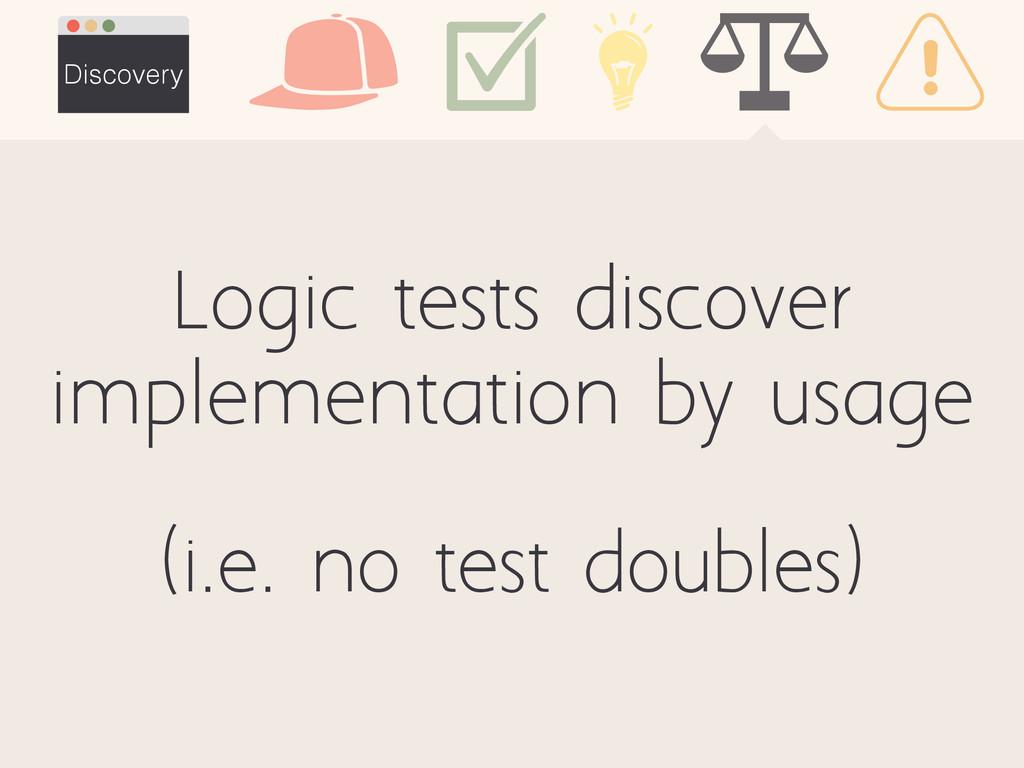Discovery (i.e. no test doubles) Logic tests di...