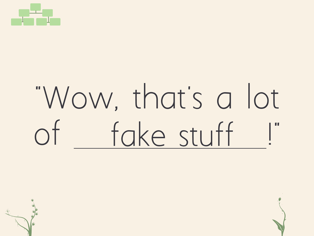 """Wow, that's a lot of !"" fake stuff zxc tg"