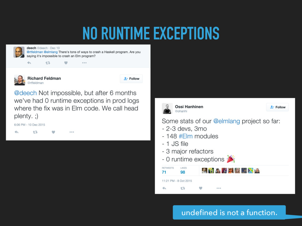 NO RUNTIME EXCEPTIONS undefined is not a functio...