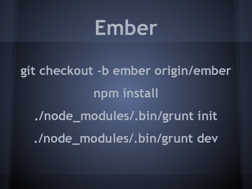 git checkout -b ember origin/ember npm install ...