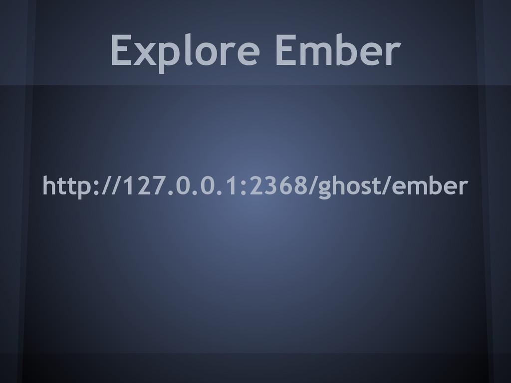 Explore Ember http://127.0.0.1:2368/ghost/ember