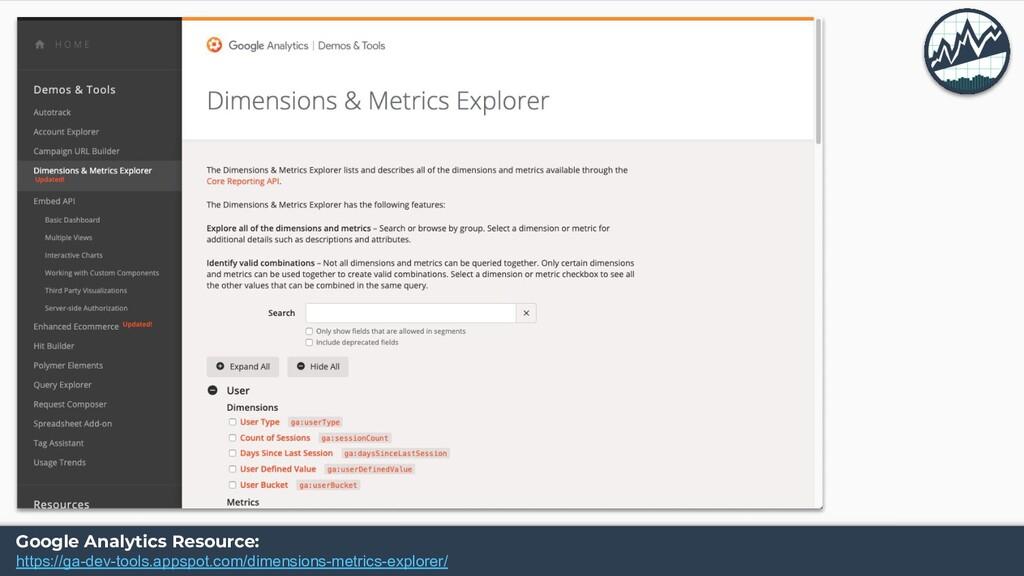 Google Analytics Resource: https://ga-dev-tools...
