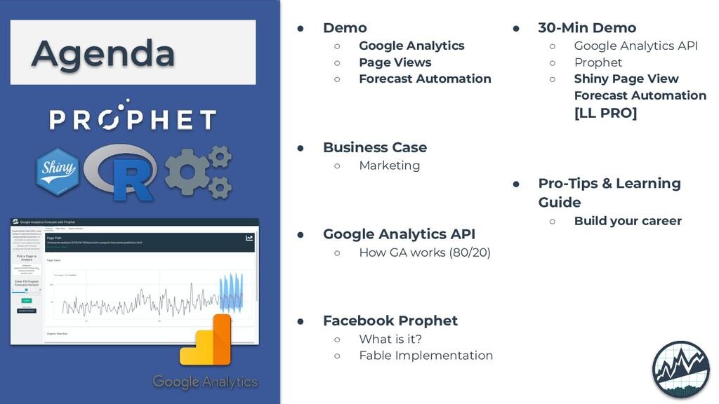 Agenda ● Demo ○ Google Analytics ○ Page Views ○...