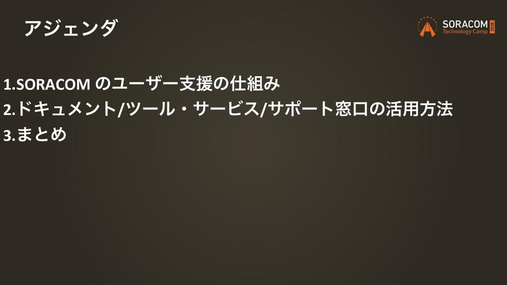 1.SORACOM ͷϢʔβʔࢧԉͷΈ 2.υΩϡϝϯτ/πʔϧɾαʔϏε/αϙʔτ૭ޱͷ...