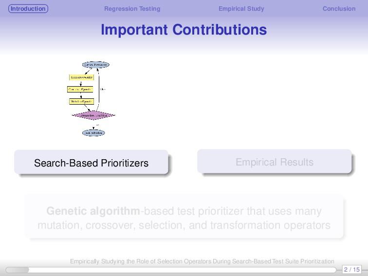 Introduction Regression Testing Empirical Study...