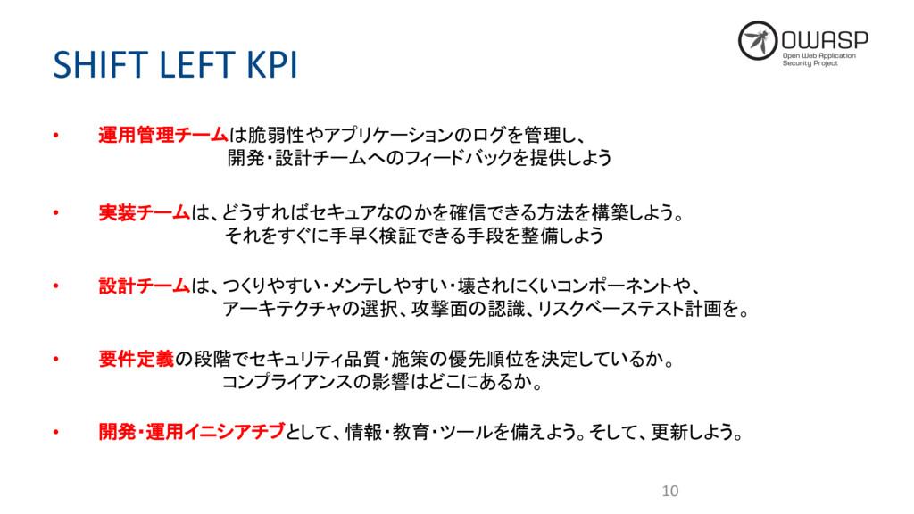 SHIFT LEFT KPI • 運用管理チームは脆弱性やアプリケーションのログを管理し、 開...
