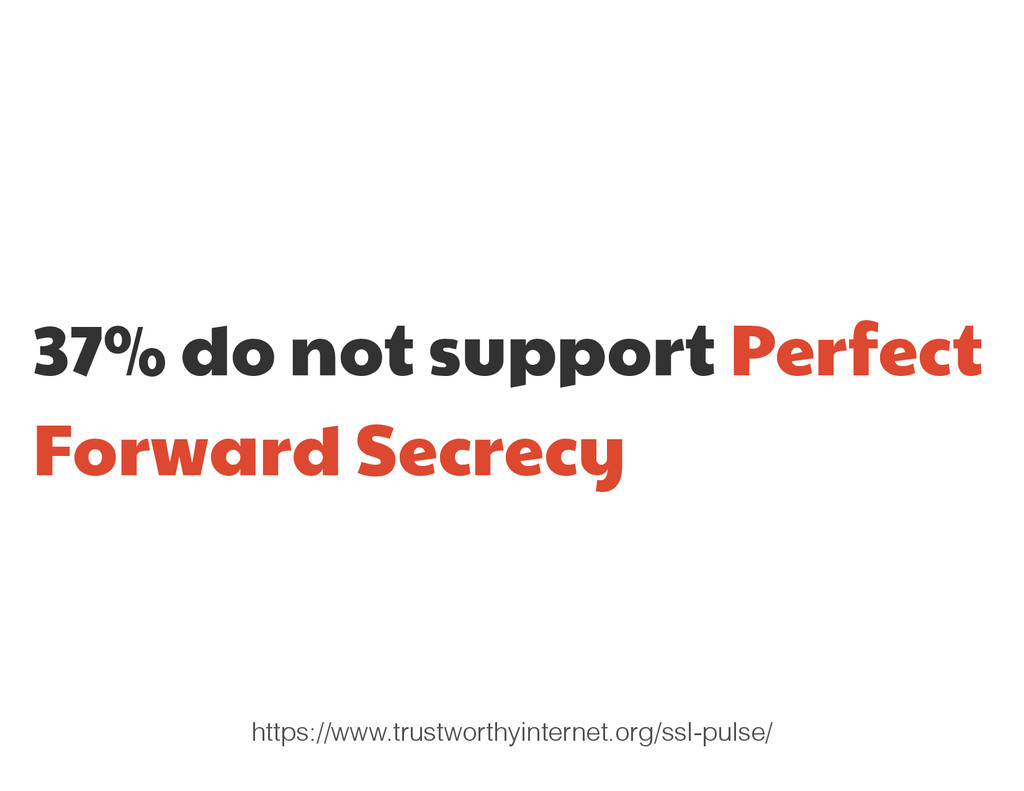 37% do not support Perfect Forward Secrecy http...