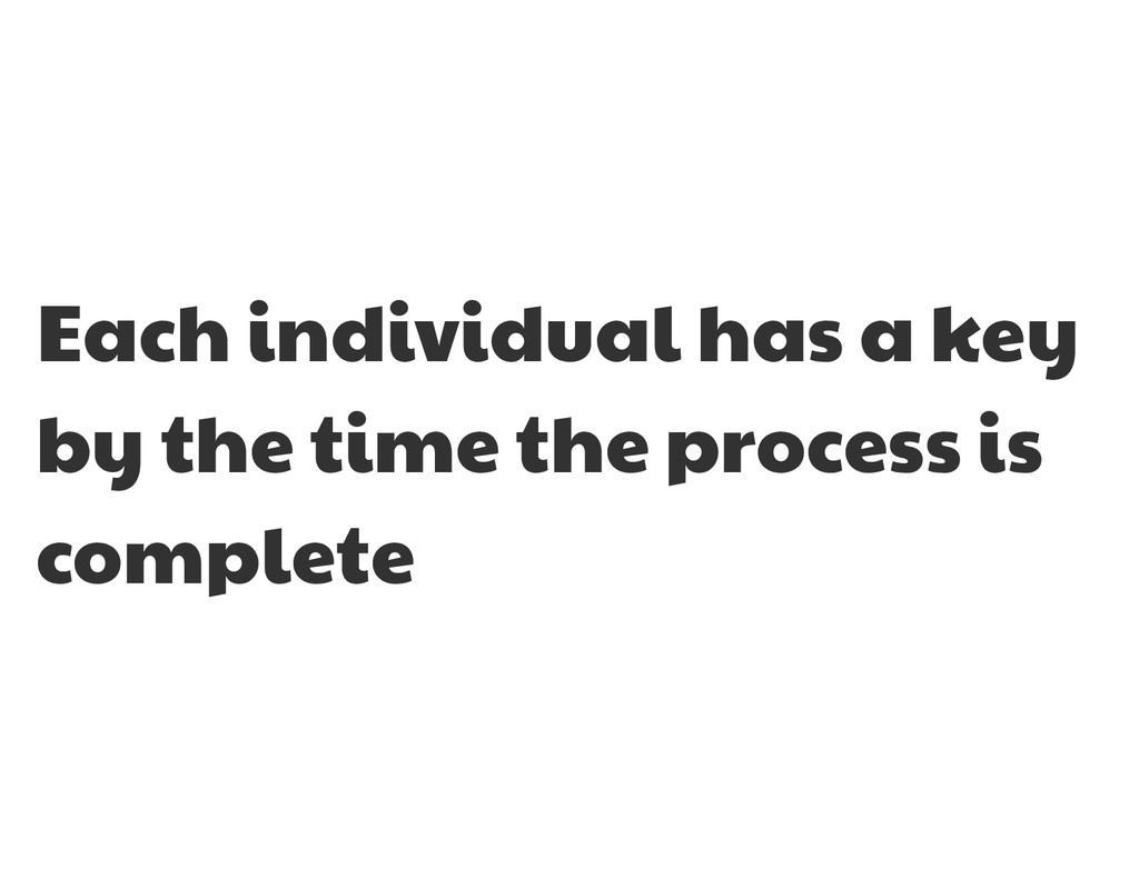 Each individual has a key by the time the proce...