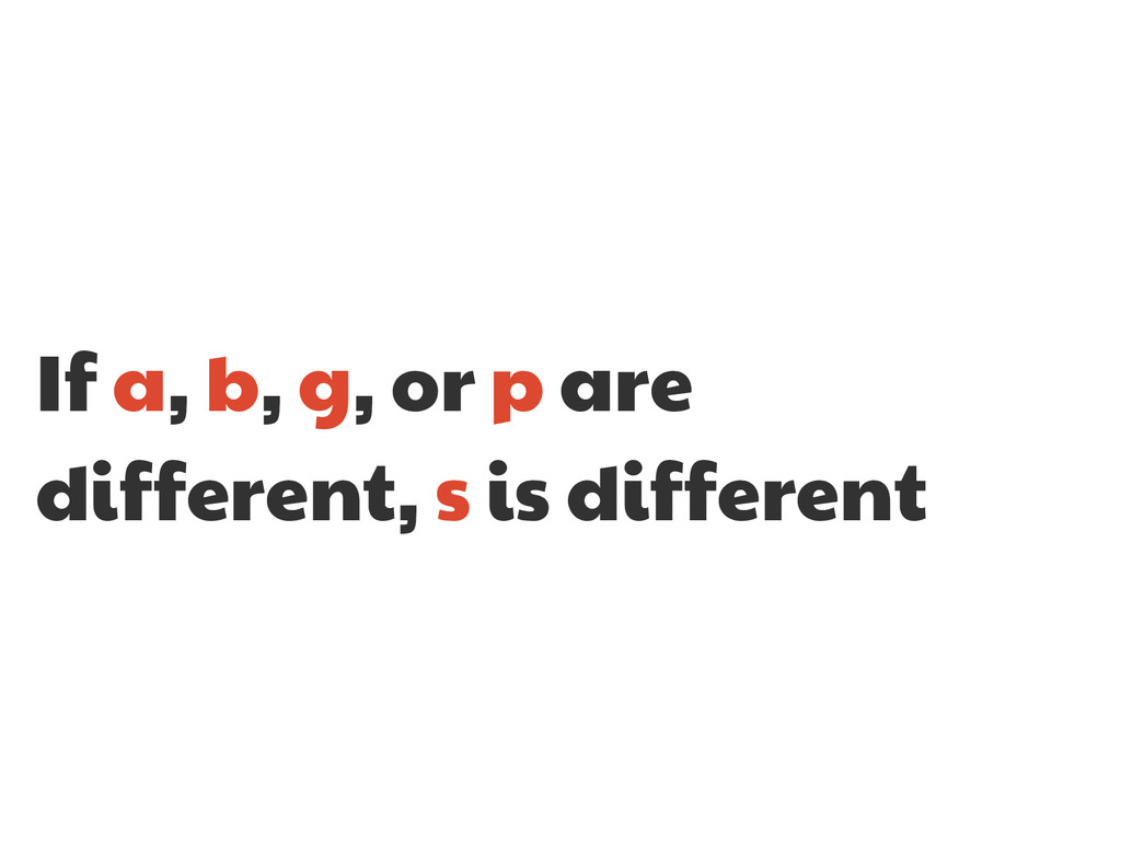 If a, b, g, or p are different, s is different