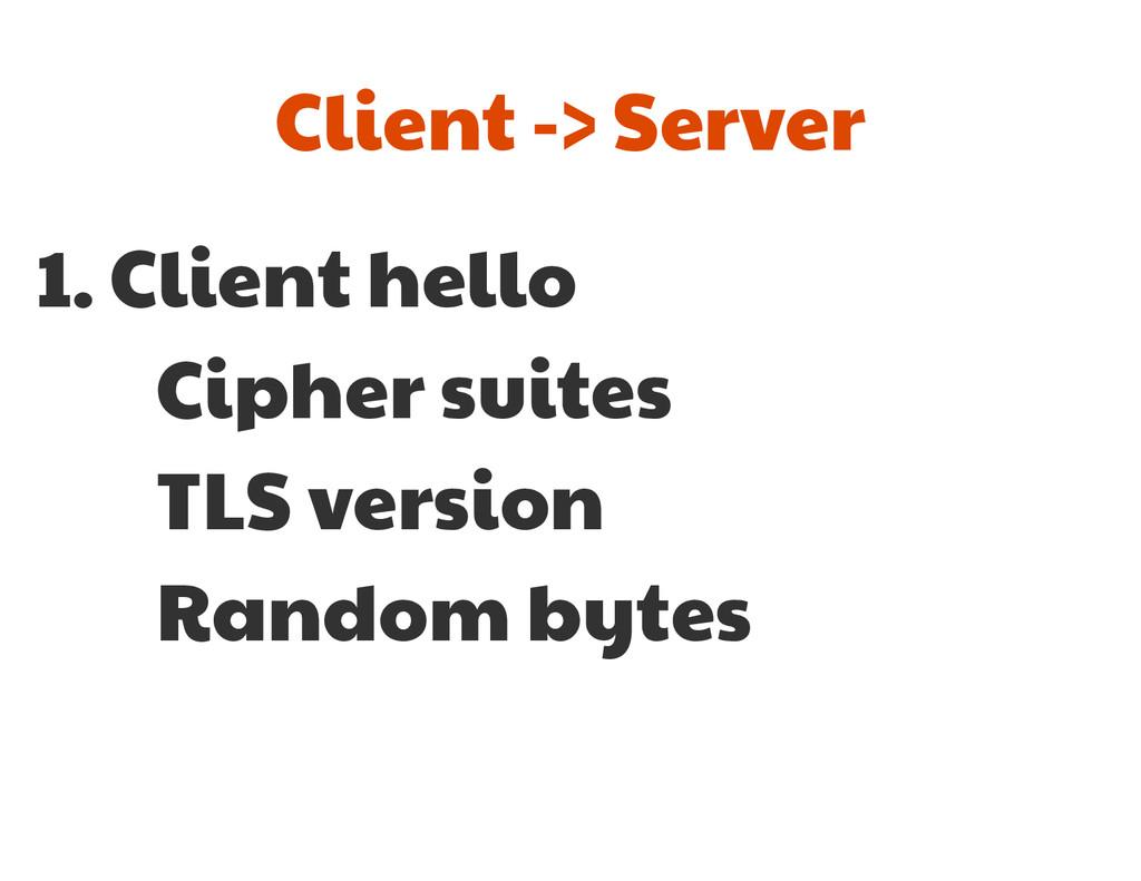 1. Client hello  Cipher suites  TLS version  Ra...