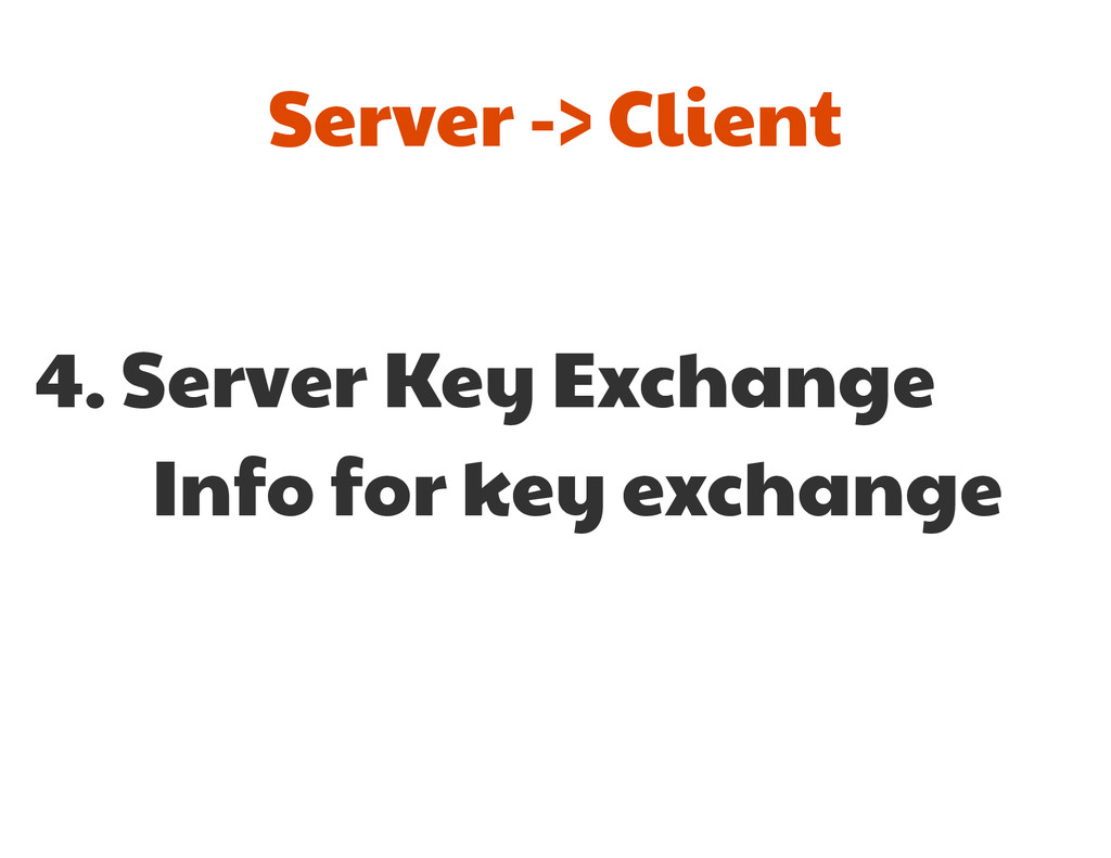4. Server Key Exchange  Info for key exchange S...