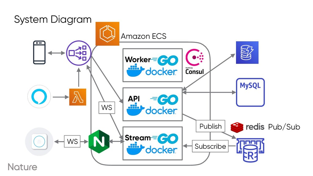 API Stream Worker System Diagram Amazon ECS Sub...