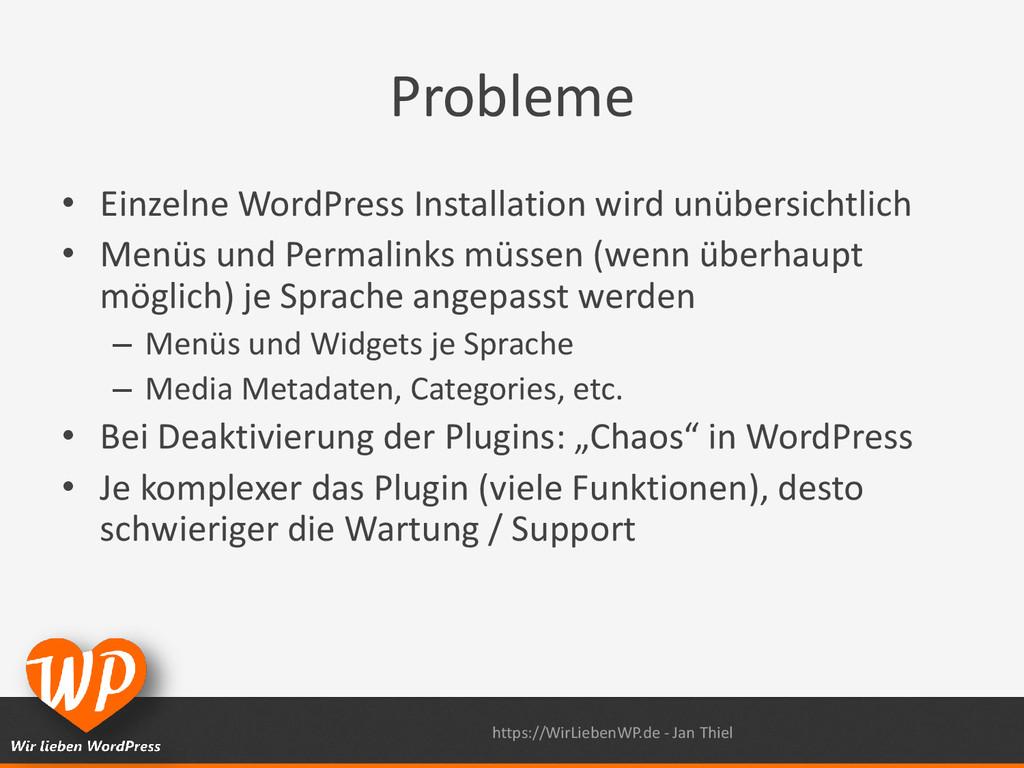 Probleme • Einzelne WordPress Installation wird...