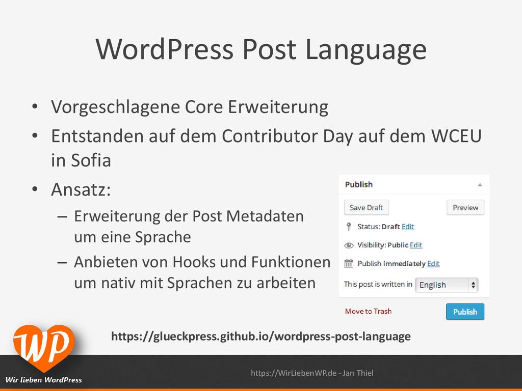 WordPress Post Language • Vorgeschlagene Core E...