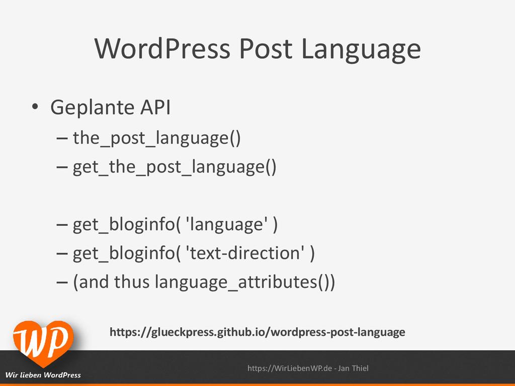 WordPress Post Language • Geplante API – the_po...