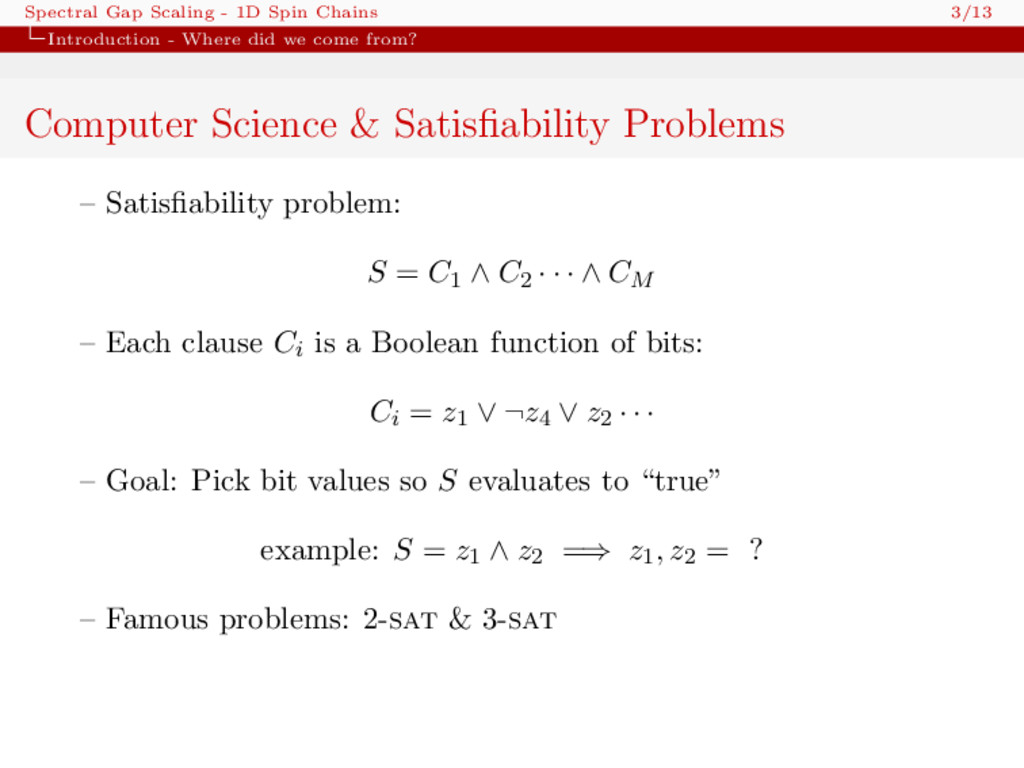 Spectral Gap Scaling - 1D Spin Chains 3/13 Intr...