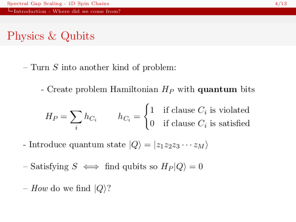Spectral Gap Scaling - 1D Spin Chains 4/13 Intr...