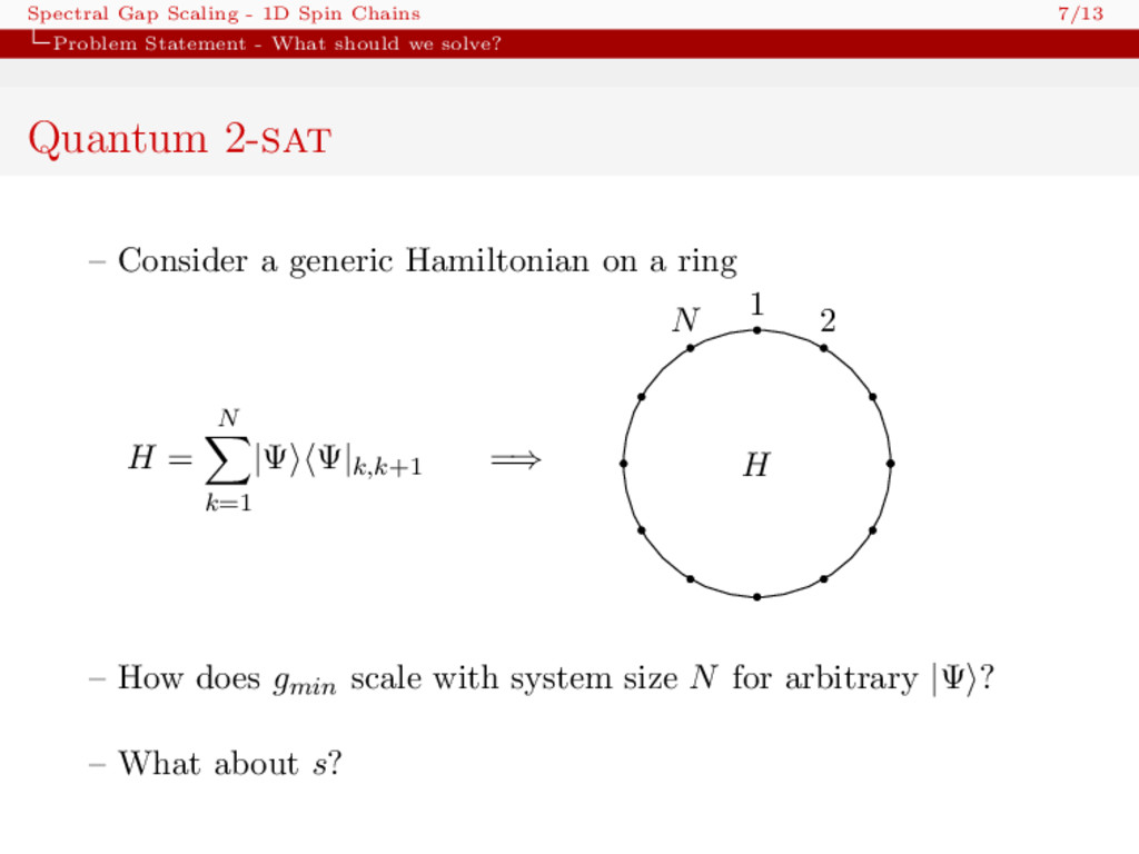 Spectral Gap Scaling - 1D Spin Chains 7/13 Prob...