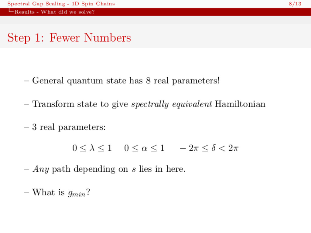 Spectral Gap Scaling - 1D Spin Chains 8/13 Resu...