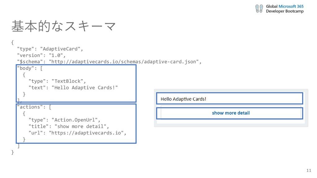 """基本的なスキーマ { """"type"""": """"AdaptiveCard"""", """"version"""": """"..."""