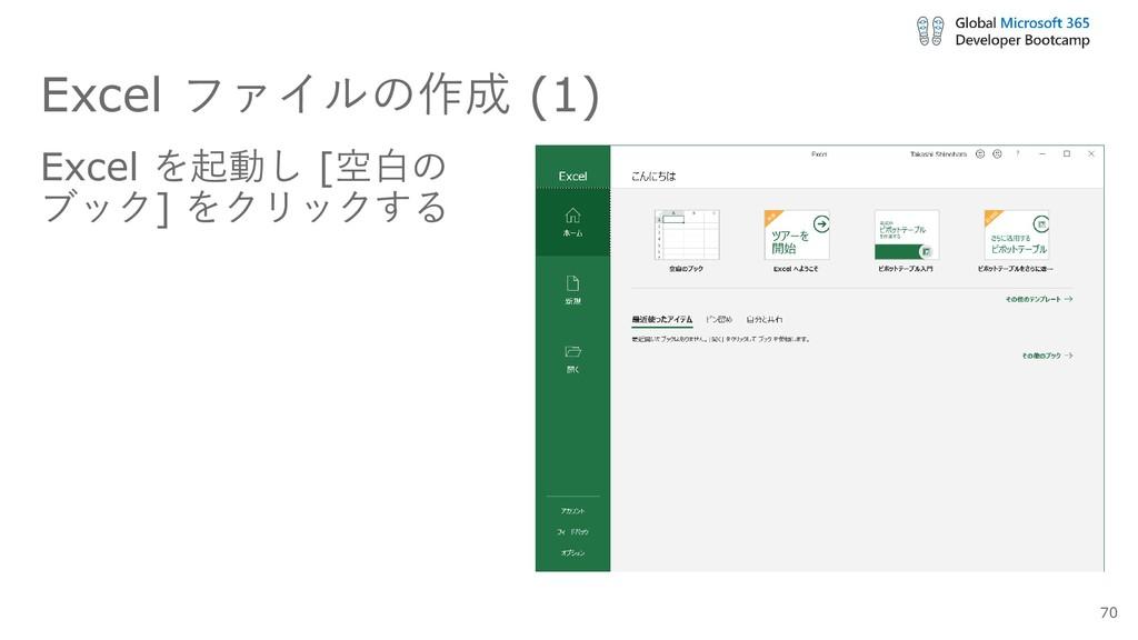 Excel ファイルの作成 (1) Excel を起動し [空白の ブック] をクリックする ...