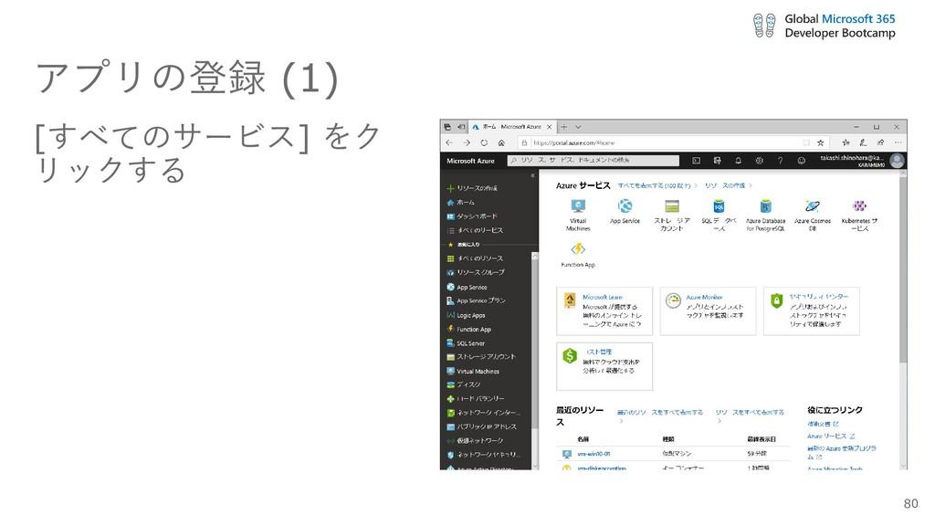 アプリの登録 (1) [すべてのサービス] をク リックする 80