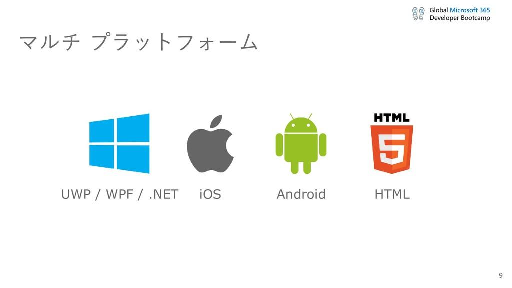 マルチ プラットフォーム UWP / WPF / .NET iOS Android HTML 9