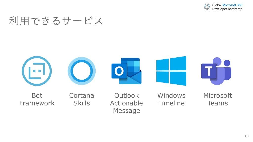利用できるサービス Bot Framework Cortana Skills Outlook ...