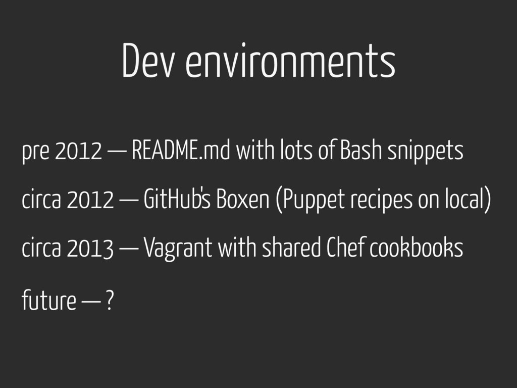 pre 2012 — README.md with lots of Bash snippets...