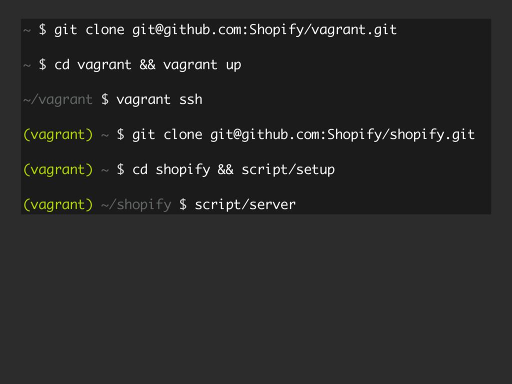 ~ $ git clone git@github.com:Shopify/vagrant.gi...