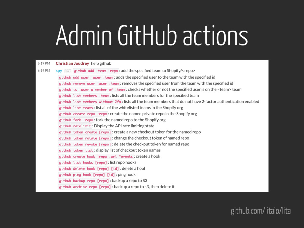 github.com/litaio/lita Admin GitHub actions