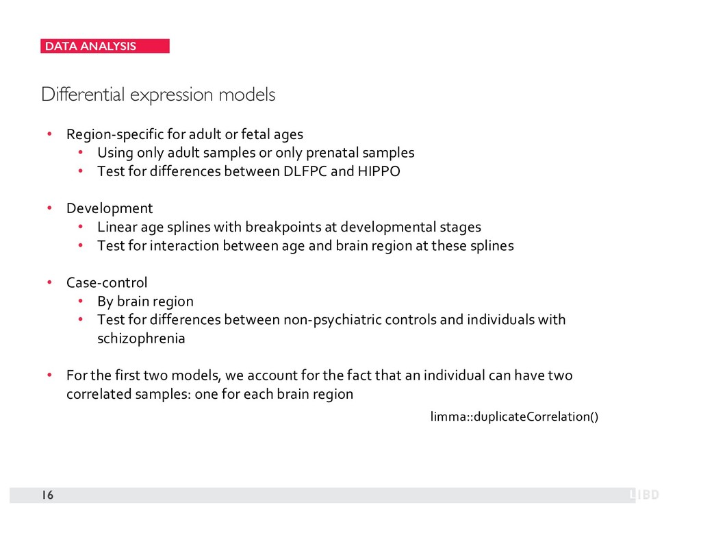 DATA ANALYSIS 16 Differential expression models...