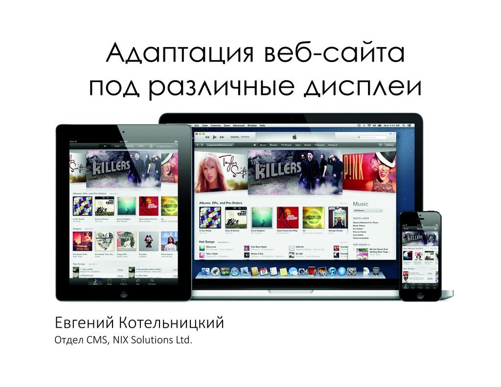 Евгений Котельницкий Отдел CMS, NIX Solutions L...